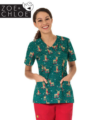 Z12202 Holly Jolly Christmas Print Nurse Scrub Top