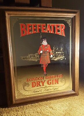 Vintage Beefeater London Distilled Dry Gin Wall Decor Mirror  MOTIVATED SELLER