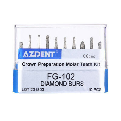 10 X Dental Diamond Burs Set For Crown and Bridge Preparation Molar Teeth FG-102