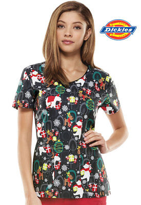 DK700X5 Christmas Nurse Scrub Print Top Beary Christmas Xmas Uniform
