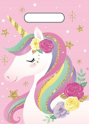 Unicorn Party Supplies 10 Pink Plastic Loot Lolly Treat Favour Bags Birthday NEW