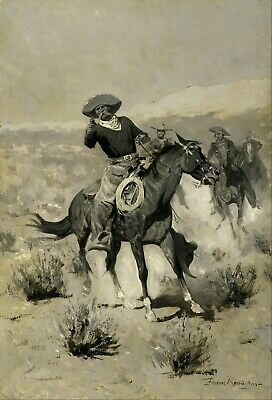 """Days on the Range (""""Hands Up!"""") by Frederic Remington Giclee Repro Canvas"""