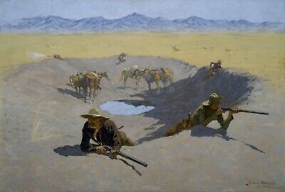 Fight for the Waterhole by Frederic Remington Giclee Repro Canvas