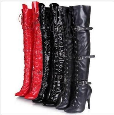 Stylish Women's High Slim Heel Over The Knee Thigh Boot Lace Up Buckle Shoes Chi