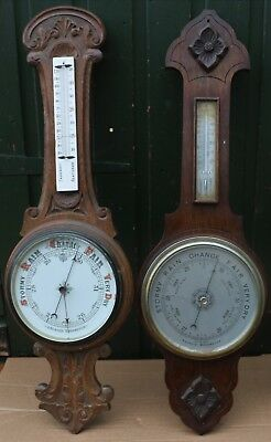 2 Very Large Carved Wooden Barometers For Restoration