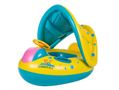 New Inflatable Toddler Baby Swim Ring Float Kid Swimming Pool Water Seat Canopy