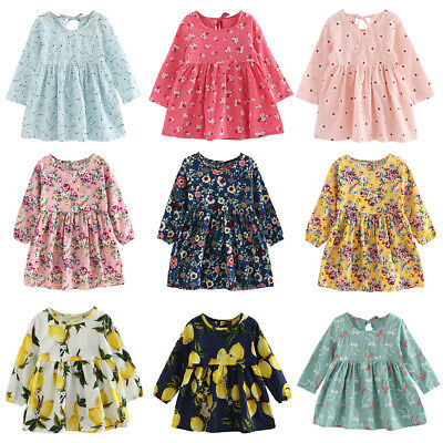 Toddler Baby Infant Girls Dress Long Sleeve Princess Party Pageant Wedding Dress