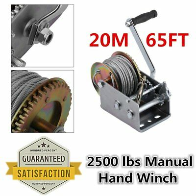 Manual Hand Winch 2500lbs With 20M 65ft Strap Length Boat Trailer Marine Pull UK
