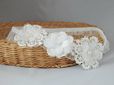 Lace hair band, off white baby hair band, baptism christening FairyDust Handmade