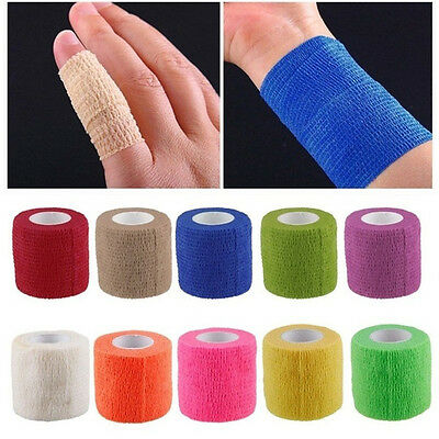 5 Rolls Waterproof Self Adhesive Bandage Tape Finger Joints Wrap Sports Care AU