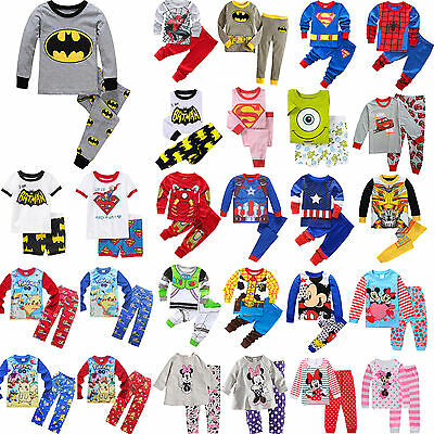 Toddler Kids Boys Girl Cartoon Sleepwear Baby Cotton Nightwear Pj's Pyjamas Lots