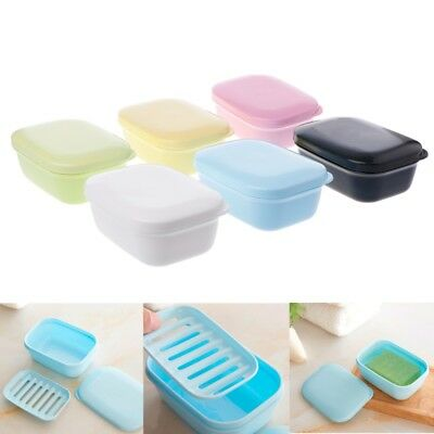 Portable Drain Layer Washing Soap Box Travel with Lid Seal Leak-proof Dish Case