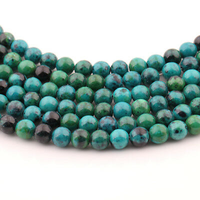 """Lots 15"""" Blue Chrysocolla Gemstone Round Loose Spacer Beads Finding Craft 4-10MM"""