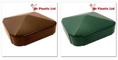 Plastic Fence Fencing Post Cap in Brown or Green