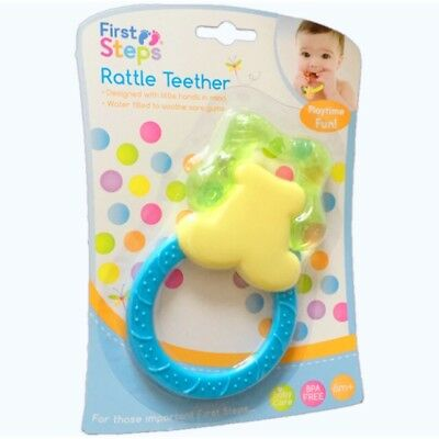 Baby Teething Ring Rattle Teether Water Filled  BPA Free Toy 6 months+