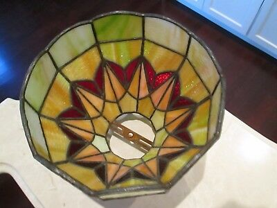Antique Art Deco 1920's Stained Leaded Glass Lamp Shade