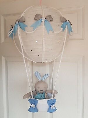 Hot air balloon light shade + blue rabbit comforter  looks stunning nursery baby