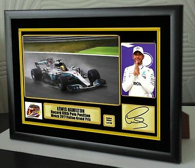 "Lewis Hamilton Record 69th Pole F1 2017 Framed Canvas Print Signed ""Great Gift"""