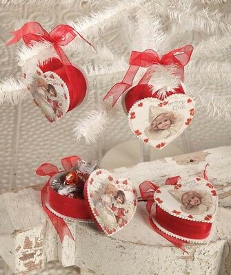LG1642 Set/2 Bethany Lowe Heart Candy Box Valetine's Day Ornament Decoration