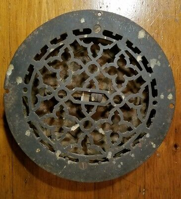"Ornate Cast Iron Round Heating Grate Register Vent w/Louvers Fits 8"" Hole 1875"