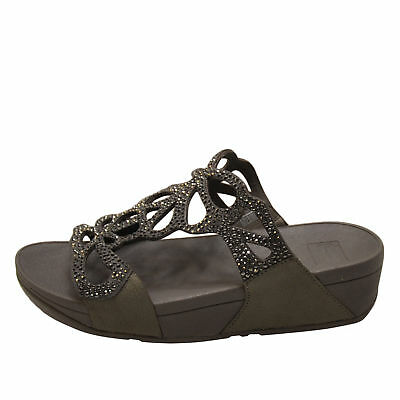 e1001ac50ec99 FITFLOP BUMBLE CRYSTAL Slide Pewter Women s Sandals H70-054 -  91.00 ...
