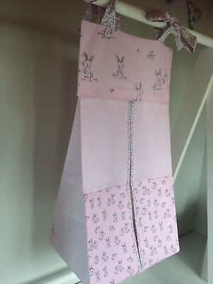 Pink with Rabbits Nappy Stacker/Holder for girls. Ideal baby shower gift.