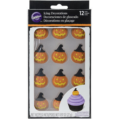 Royal Icing Decorations 12/Pkg Pumpkin W/Witch Hat W102122