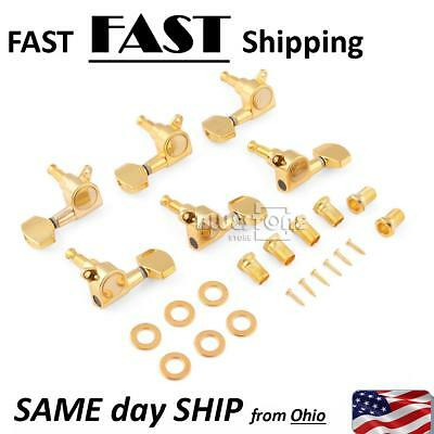 Electric Acoustic Guitar String Tuning Peg Enclosed Machine Head Tuner Gold