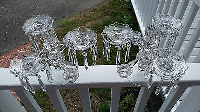 Vintage Matching Pair Crystal Cambridge Arms Candelabras With Prism Lusters