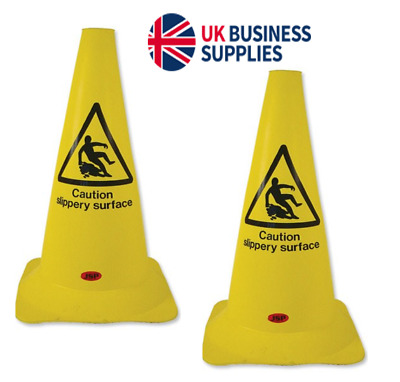 2 x PVC Floor Warning Signs { Caution Slippery Surface }