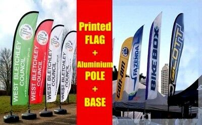 CUSTOM FREE Design Feather/Flag Flying/Banner 75x200 to 520cm set with printing