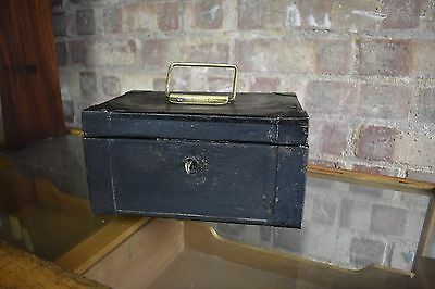 Antique Old Victorian Cast Iron Cashier Safe Money Tin with Key