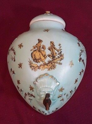 Antique Porcelain French Lavabo Water Fountain with bronze spigot painted w/ lid