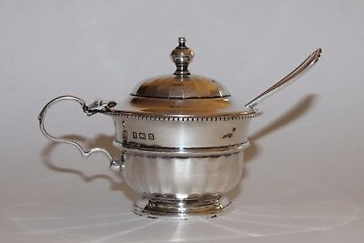 Birmingham (1932) antique silver mustard pot with spoon
