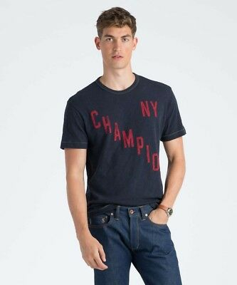 Champion Men/'s Ringer Graphic Tee Shirt Made in Canada Blue NEW L Todd Snyder
