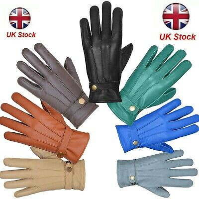 Leather Gloves Soft Feel Winter Warm Outdoor Walking New