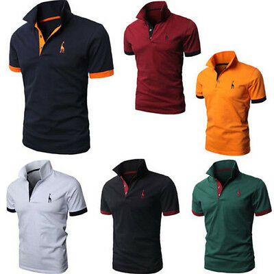 Men Slim Fit POLO Neck Shirts Cotton Short Sleeve Casual Mature T-shirt Tee Top