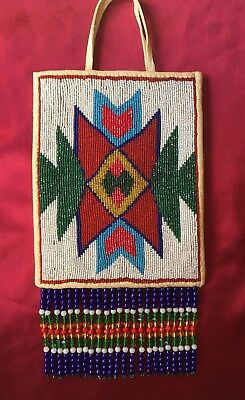 Antique Plateau Nez Perce Faceted Cut Beaded Flat Bag Trade Bead Fringe