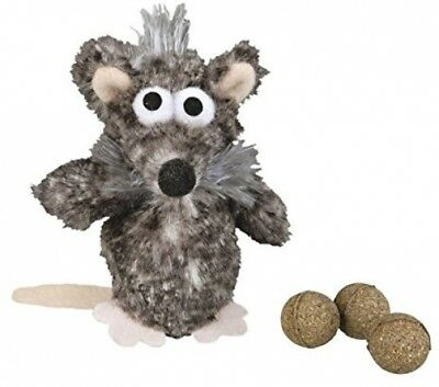 Trixie Rat Plush Toy For Cat With 3 Catnip Balls, 11 Cm, Pack Of 4
