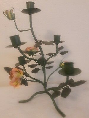 "Pre-owned Vintage Green Metal 5 Arm Candelabra Flowers  13"" Candle Holder"