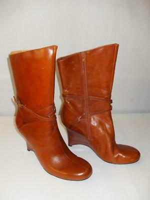 22d45b9069a NEW WOMEN'S STEVE Madden Wedge, Leather Boots - Brown - Size: 8.5 - NWOT
