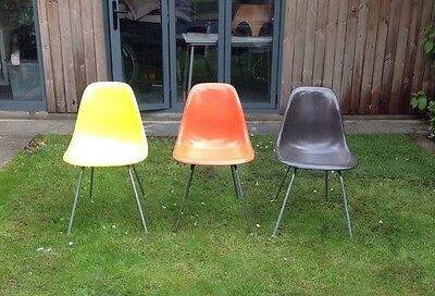 Vintage Charles Eames For Herman Miller Fibreglass Side Chairs Set Of Three