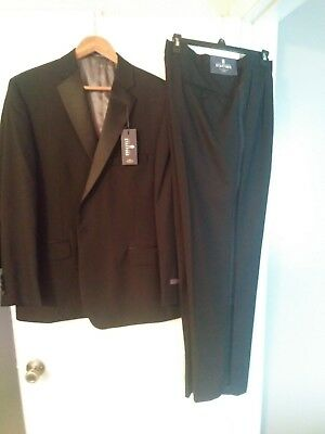 Men's Black Classic Fit Formal Polyester Tuxedo Suit w/ Sateen Lapel & Trim NEW