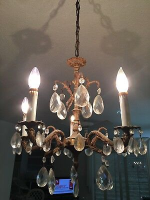vintage ANTIQUE 5 ARM  BRASS ceiling  light CHANDELIER w/ Crystals
