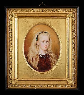 Signed & Dated 'E.T. 1869' - Beautiful Portrait Miniature of a Young Girl