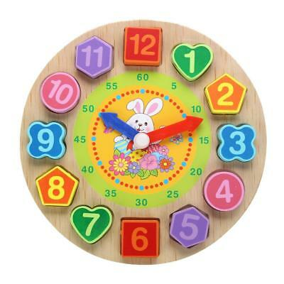 Wooden Clock Toy Educational Shape Sorting Toys Time Learning Teaching Puzzle
