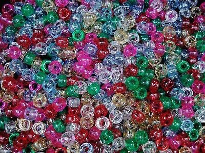 Pony Beads 6.5x4mm Glitter Mix 200pc Kids Hair Party Activity DIY FREE POSTAGE