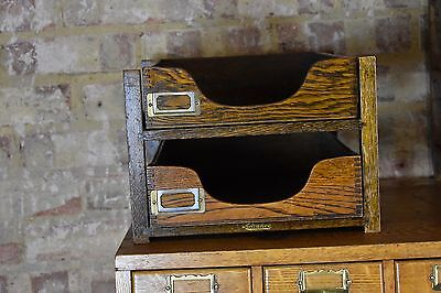 Antique Oak Filing Drawers Advance System Early 20th Century Filing Drawers