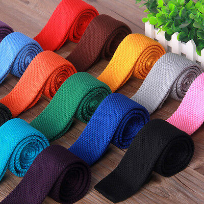 Men's Fashion Solid Knitted Knit Tie Woven Necktie Narrow Slim Skinny New