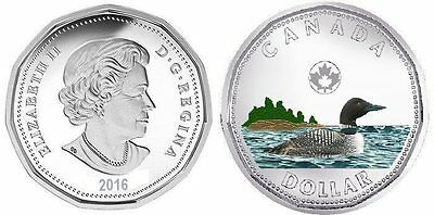 CANADA 2016 Loonie Plated Rhodium and Coloured